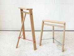 Stool and trestle '5° family' (2009) by Nils Holger Moormann for Tomas Alonso Studio