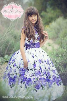 Vintage Sweet Lavender Rose Flower Girl by MelissaJaneBoutique