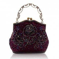 $20.63 Vintage Women's Evening Bag With Bead and Solid Color Design