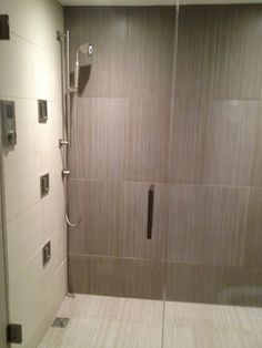 This Bathroom Features Striad Olive Porcelain Tiles On The Back Wall,  Striad White Porcelain On The Shower Floor, And Elements Botticino Matte On  The Side ...