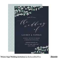 Shop Winter Sage Wedding Invitation created by RedwoodAndVine. Botanical Wedding Invitations, Winter Wedding Invitations, Sage Wedding, Elegant Wedding, Gifts For Wedding Party, Wedding Things, Wedding Ideas, Floating Candles, Wedding Planning Tips