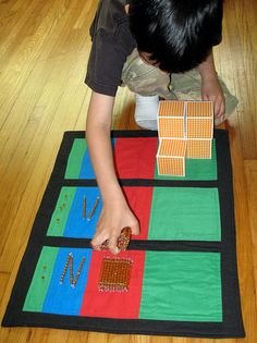 Montessori DIY Math: Addition and Place Value Mats Sewing Pattern Montessori Elementary, Montessori Education, Montessori Classroom, Montessori Activities, Homeschool Math, Homeschooling, Elementary Teaching, Classroom Ideas, Learning Place