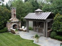 Outdoor kitchen with metal roof. Blue stone patio and huge exterior fireplace. Outdoor kitchen with Outdoor Rooms, Outdoor Living, Outdoor Decor, Outdoor Photos, Rustic Outdoor, Outdoor Ideas, Indoor Outdoor, Rustic Patio, Modern Patio