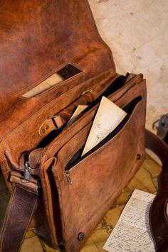 Sahara Camel Leather Bag - Mens Vintage Satchel, Messenger Leather Bags