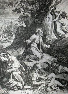 223 Life of Christ Phillip Medhurst Collection 4468 Christ at prayer Mark 14.35 Goltzius