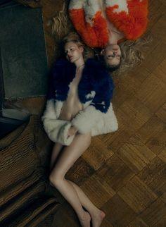 love this! | fashion editorial | resting | girls | friends | fur | floor boards | blondes | sleeping | sleep | friendship | twins | sisters: