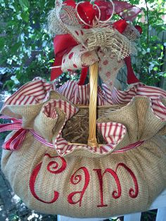 Cutest little Burlap & red mattress ticking basket ever! Perfect for Easter morning surprise! CindyJaegerDesigns