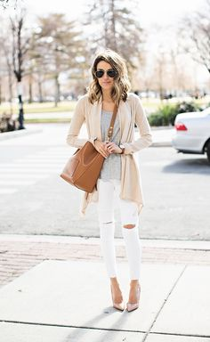 DETAILS: CARDIGAN (SIZE XS) || GREY TEE (OLD SIMILAR HERE) || WHITE DENIM (RUNS A SIZE SMALL - SIZE UP) || NUDE PUMPS || BAG (CELINE - SIMILAR HERE, OBSESSED WITH THIS ONE) || SUNGLASSES || TAN LEA...