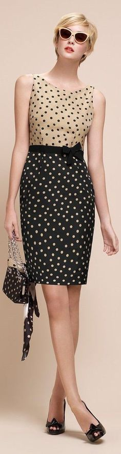 Paule Ka | Color block polka dots dress