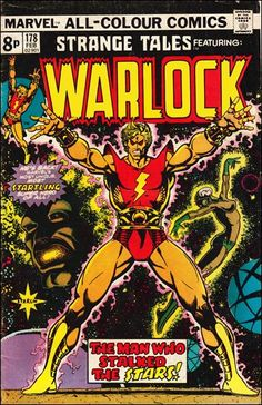 This is a Strange Tales comic book published by Marvel Comics in featuring Adam Warlock vs. Magus, in a Jim Starlin story. Marvel Comic Character, Marvel Comic Books, Comic Book Characters, Marvel Characters, Comic Books Art, Book Art, Jim Starlin, Jim Steranko, Strange Tales