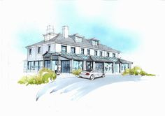 Concept sketch for Elements Hotel, Widemouth Bay, Bude. Designed by Cornwall Architects The Bazeley Partnership. Cornwall Breaks, Devon And Cornwall, Architectural Services, Construction Drawings, Bude, Drawing Board, New Builds, Sketching, Architects