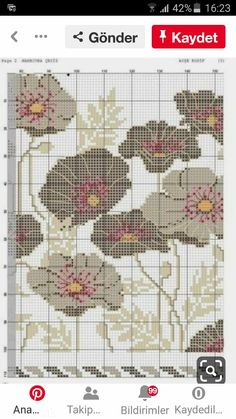 Cross Stitch Rose, Cross Stitch Flowers, Cross Stitch Designs, Cross Stitch Patterns, Tapestry Crochet Patterns, Crochet Chart, Hobbies And Crafts, Cross Stitching, Embroidery Designs