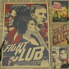 home decor Vintage Paper Retro Fight club Poster Brad Pitt poster coffee bar home decor wall stickers for kids rooms
