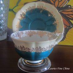 Free Shipping Royal Albert  POMPADOUR - GREEN Bone China Tea Cup and Saucer…
