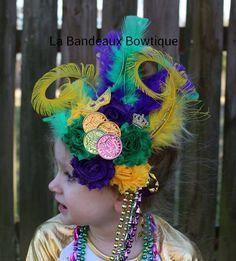 MARDI GRAS Feathered Headband, Mardi Gras Party Fascinator, Child-Adult Carnival Heabdand, OTT Headpiece, Mardi Gras Headwear by LaBandeauxBowtique on Etsy