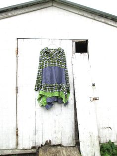 upcycled plaid flannel lagenlook romantic tunic dress / spring or summer / green and blue dress by CreoleSha, $85.00