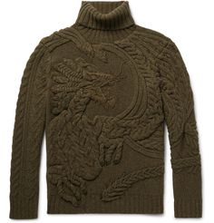 A stand-out piece from <a href='http://www.mrporter.com/mens/Designers/Ralph_Lauren_Purple_Label'>Ralph Lauren Purple Label</a>'s Fall '17 presentation, this cable-knit rollneck sweater is woven with a raised dragon motif at the front. Dyed a deep army-green, it's hand-spun from a substantial wool and cashmere-blend. Wear yours with dark trousers and shoes.