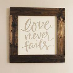 Love Never Fails Wall Decor Wood Sign by vintagegirlscompany