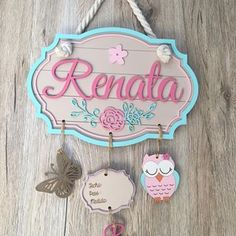 New Baby Room Nursery Girl Wood Signs Ideas Baby Nursery Decor, Baby Decor, Girl Nursery, Baby Name Decorations, Baby Crafts, Diy And Crafts, Crafts For Kids, Baby Door Hangers, New Baby Girls