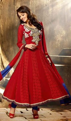 Flaunt simplistic elegance draped in this red embroidered georgette Anarkali dress. Beautified with lace, patch, resham and stones work. #NewDesignEveningWear