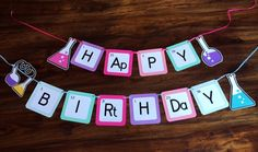 Birthday banner - Science party- Happy Birthday banner- Periodic table banner - kids party decor by Kids Party Decorations, Kids Party Themes, Birthday Party Themes, Ideas Party, Spy Party, Farm Birthday, Themed Parties, Birthday Invitations, Science Decorations