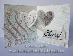 Karen Aicken using the Pop it Ups Heart Pivot Card die by Karen Burniston for Elizabeth Craft Designs - Altered Scrapbooking: Designer Challenge Card - Using the Heart Pivot Die