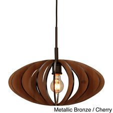 Canopy 1-light Aqua Tech Wood Slat Mini Pendant Mid Century Modern Kitchen Lite