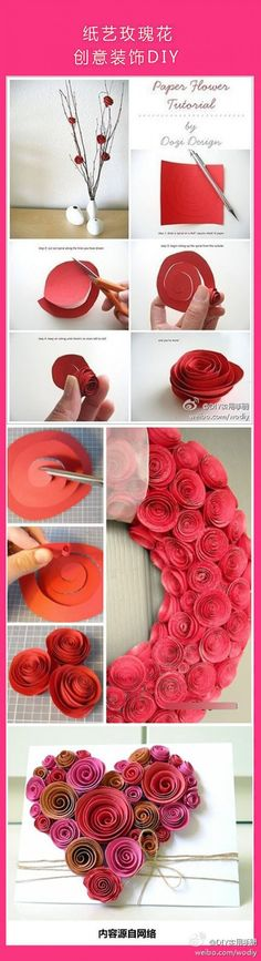 Paper heart for Valentine's Day . Paper heart for Valentine's Day Paper Flowers Diy, Handmade Flowers, Flower Crafts, Diy Paper, Fabric Flowers, Paper Art, Paper Crafts, Origami Flowers, Origami Rose