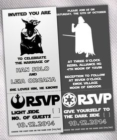 "I love the ""She loves him, He knows"" bit. Star Wars Wedding Invitations – made by AprilSanson on Etsy"