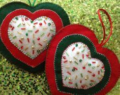 Navidad fieltro ornamentos juego de 2 hecho a mano por CraftsbyBeba