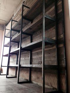 Custom steel and rough sawn retail shelving unit Modular Furniture, Steel Furniture, Living Furniture, White Furniture, Furniture Design, Steel Shelving, Wood Shelves, Shelving Units, Retail Shelving