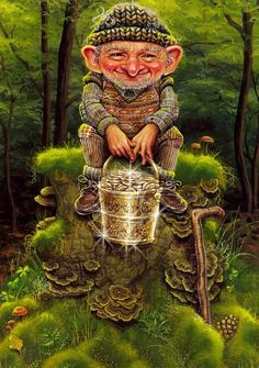 Leprechaun with a pail of gold.