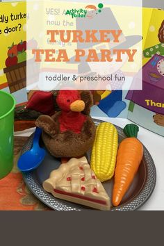 Toddlers and preschoolers will love having a turkey tea party before Thanksgiving! Using a popular read aloud book, you can extend the language learning fun with simple toy food and place settings. This is a great way to work on following directions, expressive language, social skills and tolerating new food choices.