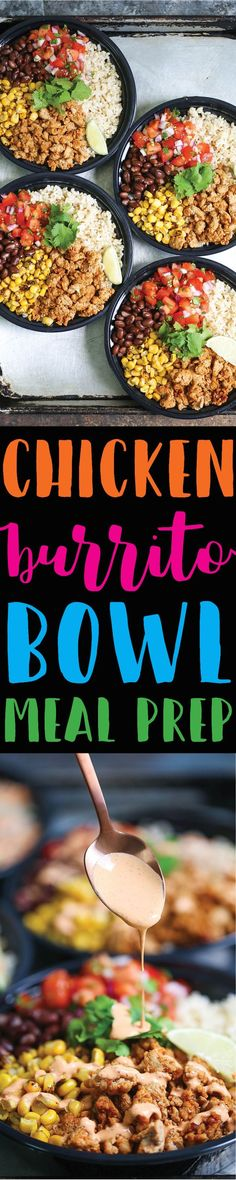 Chicken Burrito Bowl Meal Prep - Think of this as healthier (and cheaper!) Chipotle bowls that you can have all week long. Save time and calories here!!!