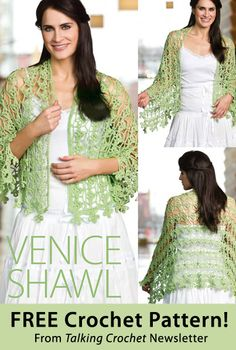 Venice Shawl Download from Talking Crochet newsletter. Click on the photo to access the free pattern. Sign up for this free newsletter here: AnniesNewsletters.com.