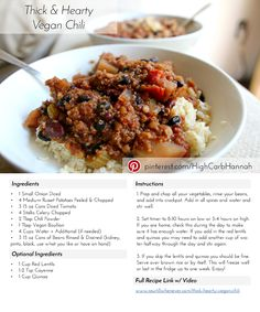 Thick & Hearty Vegan Chili