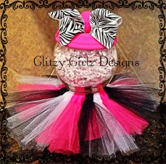 Faux handmade hot pink/zebra and black tutu by GlitzyGirlzDesigns, $15.99