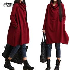 Ladies Casual Dresses Knee Length Long Red Dress Woman Clothes Fashion 2016 Dresses for Pregnant Women Fall Winter-in Dresses from Women's Clothing & Accessories on Aliexpress.com | Alibaba Group