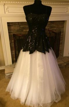 Josh And Jazz Sequined Long Black/White Gown Prom Military Ball $268 Sold Out #JoshandJazz #BallGown #Formal