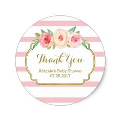 Etiqueta Rose Stripes Pink Floral Baby Shower Favor Tags Classic Round Sticker