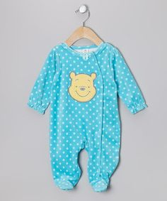 Take a look at this Turquoise Winnie the Pooh Footie - Infant by Disney on #zulily today!