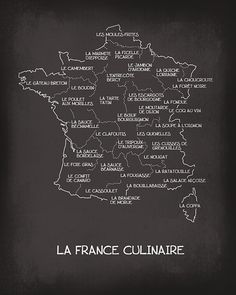 La France Culinaire - Culinary French Map Art Print