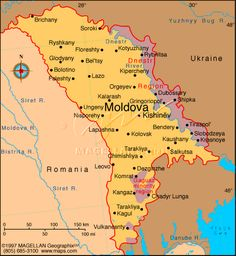 Map of Moldova and surrounding countries/territories: Ukraine and Romania, Transnistria (not labeled, but shaded). Cities of Moldova on this map.