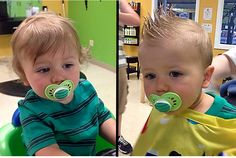 From curly wisps to a cool faux-hawk.  Boy's First Haircut at Junior Cuts (kids hair salon) in Milford, OH (Cincinnati).