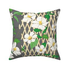 Clematis Trellis white on Catalan by jaanahalme | Roostery Home Decor Pillow Cover Design, Throw Pillow Covers, Throw Pillows, Clematis Trellis, Vibrant Colors, Colorful, Cozy Bed, Natural Texture, Basket Weaving