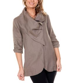 This Mocha Drape Collar Linen Jacket - Women is perfect! #zulilyfinds