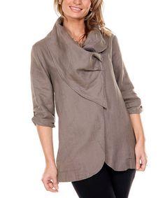 This Mocha Drape Collar Linen Jacket - Women is perfect! #zulilyfinds