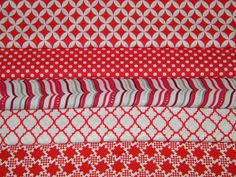 5 FQ Bundle  Red & White GEOMETRIC Prints 100% by TweetysHangout