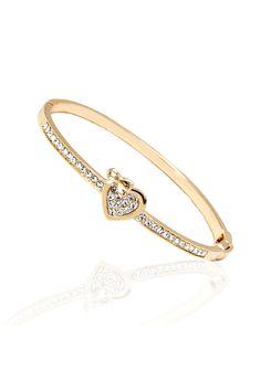 Sevil 18k Gold Plated Swarovski Elements Heart Bow Bangle - Beyond the Rack