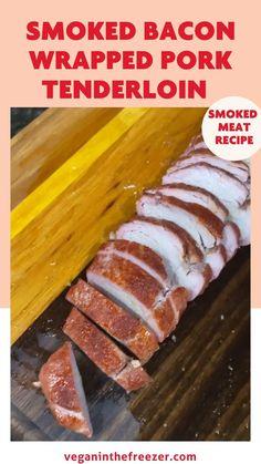 Bacon Wrapped Pork Tenderloin, Pork Tenderloin Recipes, Smoked Meat Recipes, Smoked Bacon, Great Recipes, Dinner Recipes, Smoking Recipes, Smoking Meat, Hot Dog Buns